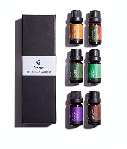 Aromaterapia y aceites esenciales de masaje Kit de sanación holística con puro 100% grado terapéutico incienso, lavanda, menta, canela, eucalipto y Tea Tree aceite 6 10 ml botellas