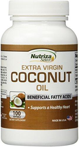 Cápsulas de aceite de coco - pastillas de aceite de coco orgánico Extra Virgen - 100 Softgels, 1000mg cada - frío - GMP certificó la facilidad - Made in USA
