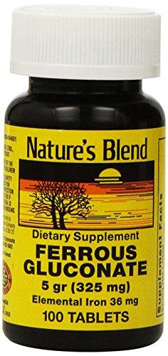 Ferroso gluconato 100 Tabs por naturalezas mezcla 5 gramos (325 mg)
