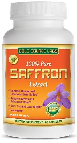 Extracto de azafrán puro 100% - Premium supresor del apetito y suplemento para bajar de peso - todo Extracto de azafrán Natural contiene 88,25 mg estandarizado no-GMO azafrán - 60 cápsulas, suministro de un mes completo