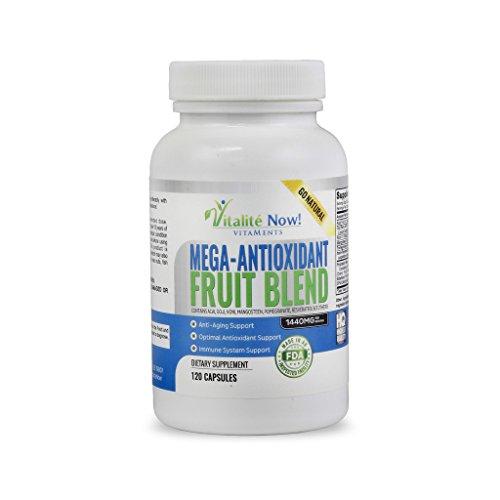 Mega antioxidante fruta mezcla - Acai Resveratrol Granada Goji Noni Mangostán y 5 otros Anti envejecimiento superalimentos! Suplemento de apoyo inmune y Booster - suministro de 2 meses!