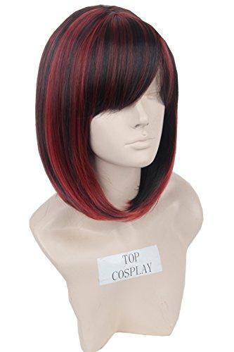 Topcosplay mujeres señoras Bob Pelucas Traje recto corto peluca de pelo negro, rojo