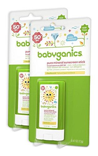Babyganics bebé base Mineral protector solar Stick, SPF 50, palo de .47oz (paquete de 2)