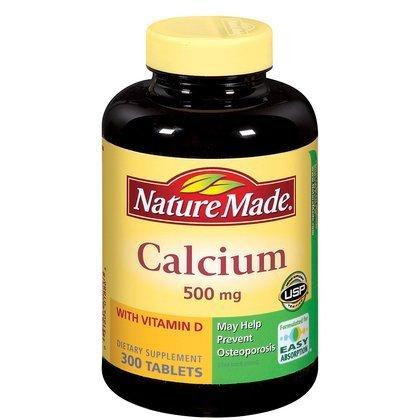 Naturaleza hecha de calcio con vitamina D--500 mg - 300 comprimidos