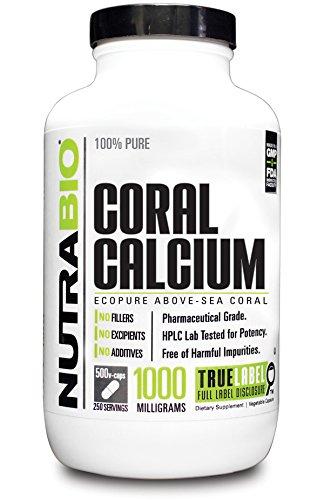 NutraBio 100% puro calcio de Coral EcoPure 1000mg - 500 cápsulas vegetales