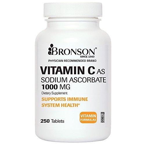 Laboratorios de Bronson: vitamina C como ascorbato de sodio, ácidos - suave en el estómago, 1000 mg, 250 tabletas