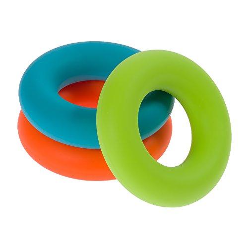 3 mano fortalecedor ejercicio anillos de silicona - Grip Fortificantes para los usuarios de computadoras, terapia de mano física y entrenamiento de resistencia además de rehabilitación de músculos para el movimiento, RSI y alivio del estrés