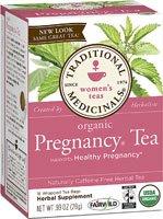 Té de embarazo orgánicos medicinales tradicionales - descafeinado - 16 bolsas