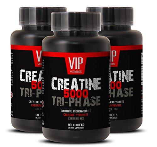 Tri-fase 5000mg de creatina, mezcla perfecta de monohidrato de creatina, creatina HCL y piruvato de creatina (3 botellas de 270 tabletas)
