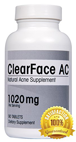 ClearFace CA Natural acné suplemento - reducir espinillas, la inflamación y la piel grasa con la mejor sobre el contador acné tratamiento píldoras de vitaminas (90 tabletas). Dermatólogo recomendado.