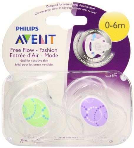 Philips Avent BPA Free contemporáneo Freeflow chupete, colores y diseños pueden variar, 0-6 meses, cuenta 2