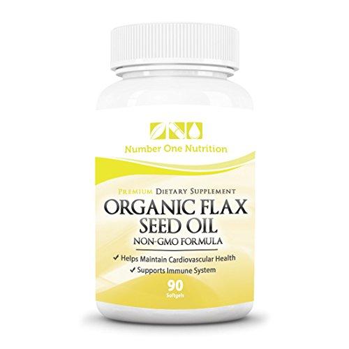 Número una nutrición orgánica, el aceite de linaza no-GMO, apoya a salud del corazón y sistema inmunológico naturalmente, 1000 mg, 90 cápsulas de Softgel