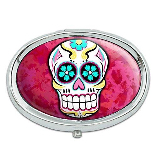 Azúcar cráneo Metal Oval caso pastillero