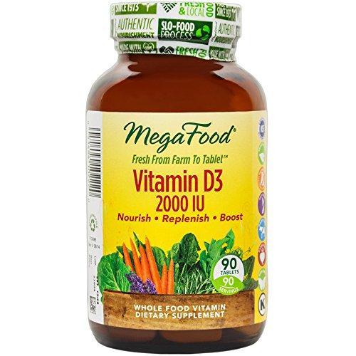 MegaFood - 3 vitamina D 2000 UI, promueve la función inmune saludable y bienestar general, 90 tabletas