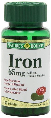Generosidad de la naturaleza del hierro (sulfato ferroso 325 mg), 65 Mg. 100 comprimidos
