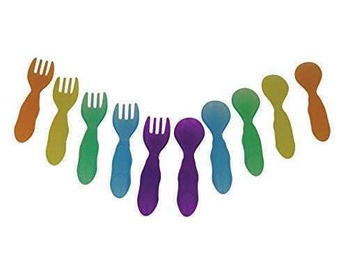 Los primeros años de tomaran & Toss niño tenedor y cuchara cubiertos, los colores pueden variar