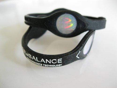 Power Balance silicona pulsera pulsera grande negro y letras blancas