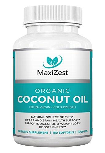 Aceite de coco orgánico extra virgen cápsulas de 1000mg - mejora la piel cabello y uñas - soportes corazón y la salud del cerebro, digestión y pérdida de peso saludable - aumenta energía - fuente Natural de MCTs - 180 cápsulas