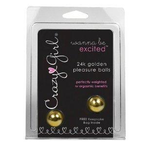 Erotica clásico Crazy Girl 24K oro placer bolas, 1 libra