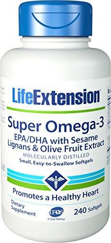 Vida extensión Super Omega-3 EPA/DHA con semillas de sésamo y oliva Extracto de fruta, 240 cápsulas
