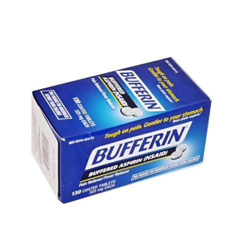 Bufferin analgésico dolor aspirina tamponada, fiebre reductor 325 Mg cada 130 comprimidos recubiertos (paquete de 2), aspirin, bufferin uso