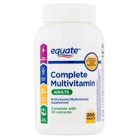 equate completa de los Suplementos Dietéticos de multivitaminas 200 ct