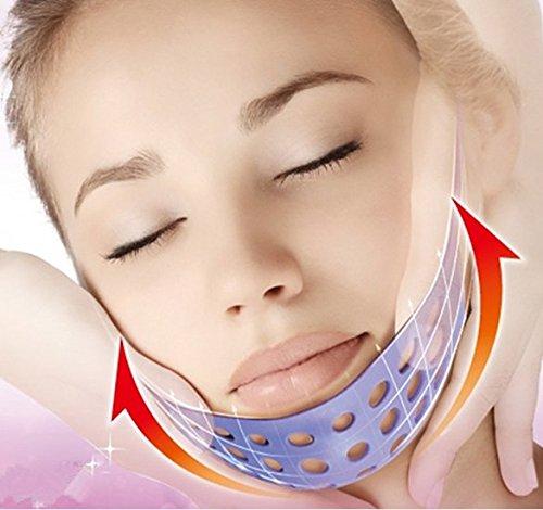 KOLIGHT® Anti arrugas lifting adelgazar mejilla máscara Levante V cara línea Slim hasta cinturón (barbilla púrpura del gel de silicona)