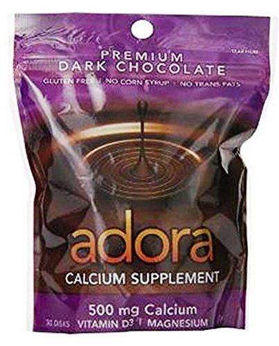 Adora Calcio suplemento disco, Chocolate negro ecológico, de la cuenta 30 - 500 mg