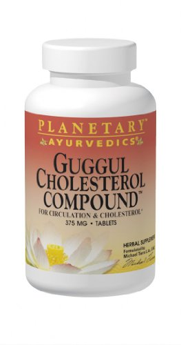 Planetary Herbals Guggul colesterol compuesto ayurvédico, 375 mg, 180 cuenta