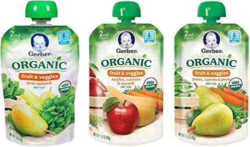 Gerber orgánico 2 bolsas de alimentos, frutas y verduras variedad Pack 2, 3.5 oz, cuenta 18