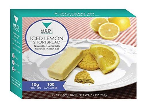 Medi-adelgazar helado limón galletas barras de proteína - alta en proteínas (10g) - 100 calorías - para el Control del hambre durante la dieta adelgazar - 7 barras por caja