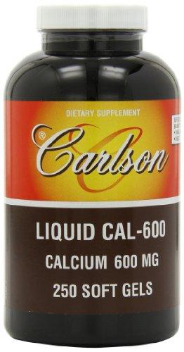 Carlson Labs líquido Cal-600, calcio 600mg, 250 cápsulas