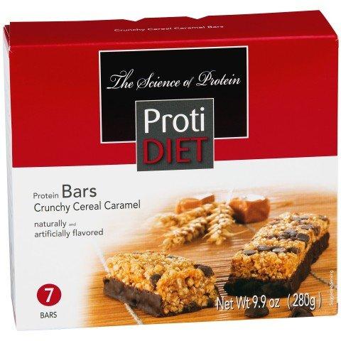Protidiet crujiente caramelo Chocolate sabor proteína barritas de cereales (caja siete)
