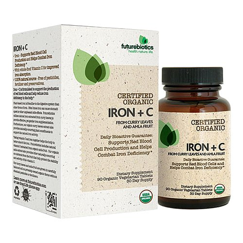 Futurebiotics C certificación orgánica cápsulas vegetarianas, hierro Plus, la cuenta 90