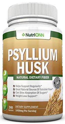 CÁSCARA de PSYLLIUM capsulas - 1450mg por porción - 240 cápsulas - prima Psyllium fibra suplemento - gran para el estreñimiento, la digestión y pérdida de peso - 100% fibra Soluble Natural