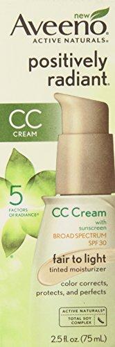 Aveeno positivamente radiante CC Crema SPF 30, justo a la luz de la crema hidratante teñida, 2,5 onzas