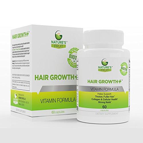 Fruta cabello crecimiento + de la naturaleza, mejor vitaminas para el crecimiento del cabello y Anti-Aging. Estimulador natural con biotina para uñas más fuertes y la piel radiante. Ayuda a reconstruir el colágeno y la queratina! (60 cápsulas, 30 porcione