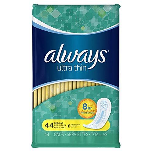 Siempre Ultra fino Regular sin alas, delgadas almohadillas cuenta 44 (paquete de 3)