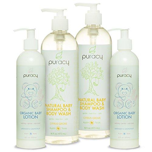 Puracy bebé naturales y orgánicos cuidado regalo conjunto - champú para bebés, baño, lavado de cuerpo y loción piel cuidado paquete - sulfato y Paraben-libre - desarrollado por los doctores usando galardonado ingredientes - Pack de 4