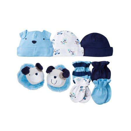 Newborn Baby Boy Caps Mittens and Booties Accessory Set 8-Piece