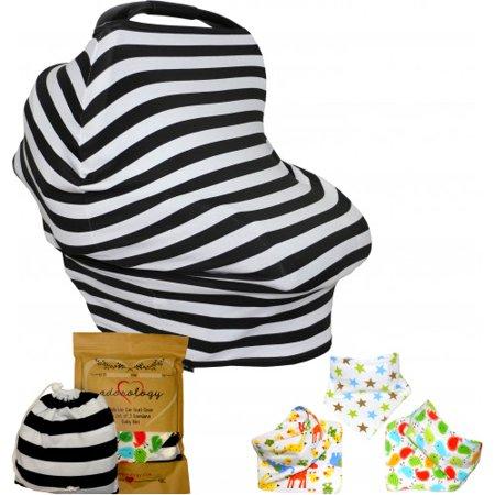 Bebé del asiento de coche y de enfermería cubierta PRIMA Bandana Baba baberos y bolsa de transporte con cordón regalo de la d