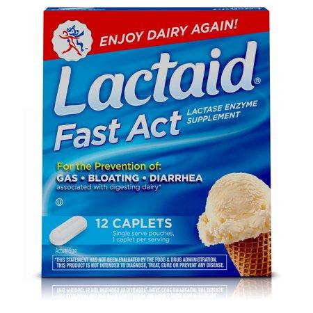 Lactaid Fast Relief La intolerancia a la lactosa Ley pastillas de lactasa 12 bolsas de viaje de una sola dosis