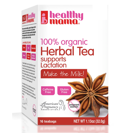 HEALTHY MAMA Make the Milk- 100% Organic Tea to Support Healthy Breastfeeding and Milk Production 16 Teabags-Box