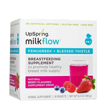MILKFLOW alholva y cardo bendito Drink Mix Berry 6.4 Oz 18 paquetes 1 Conde