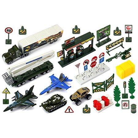 Metal militar pelotón del Ejército 40 piezas de juguete para niños Mini Playset vehículo w - Variedad de Vehículos Accesori