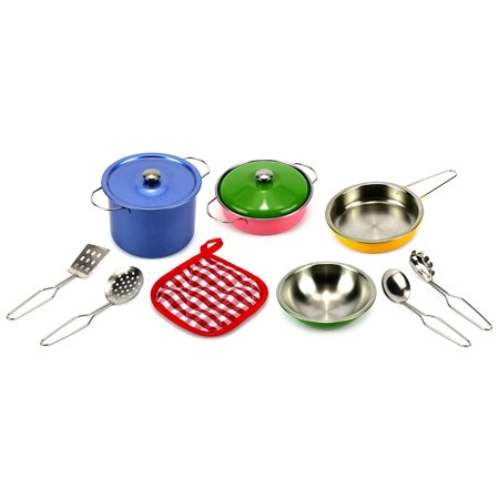 Colorful Complete 11 Pcs. Metal Diecast Children's Kid's Toy Kitchenware Playset w- Assorted Accessories