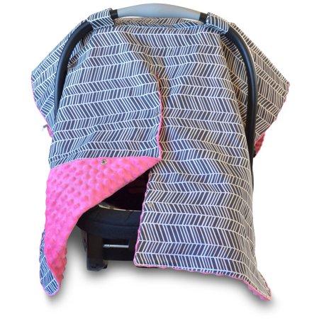 Kids N' Such 2 en 1 asiento de coche cubierta de copas con Peekaboo Apertura ™ - Gran espiga cubierta de Carseat con Pink Dot