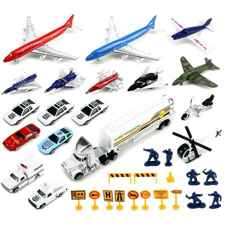 VT Deluxe Int'l Airport Diecast Children's Kid's Toy Vehicle Playset w- Variety of Vehicles Accessories