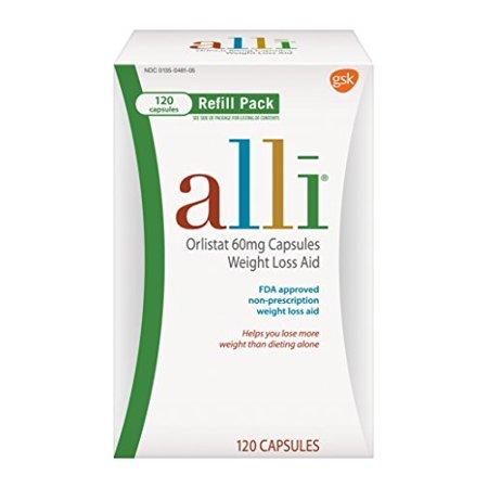 Paquete de 4 - Alli Pérdida de peso Ayuda Orlistat 60 mg cápsulas Recarga 120 cuentan cada
