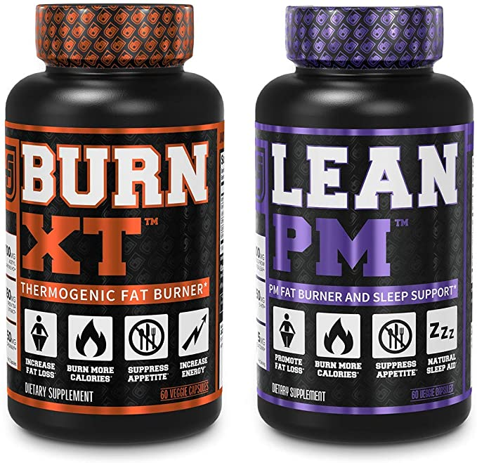BURN XT THERMOGENIC FAT BURNER and LEAN PM NIGHTTIME WEIGHT LOSS SUPPLEMENT 60 CAPS